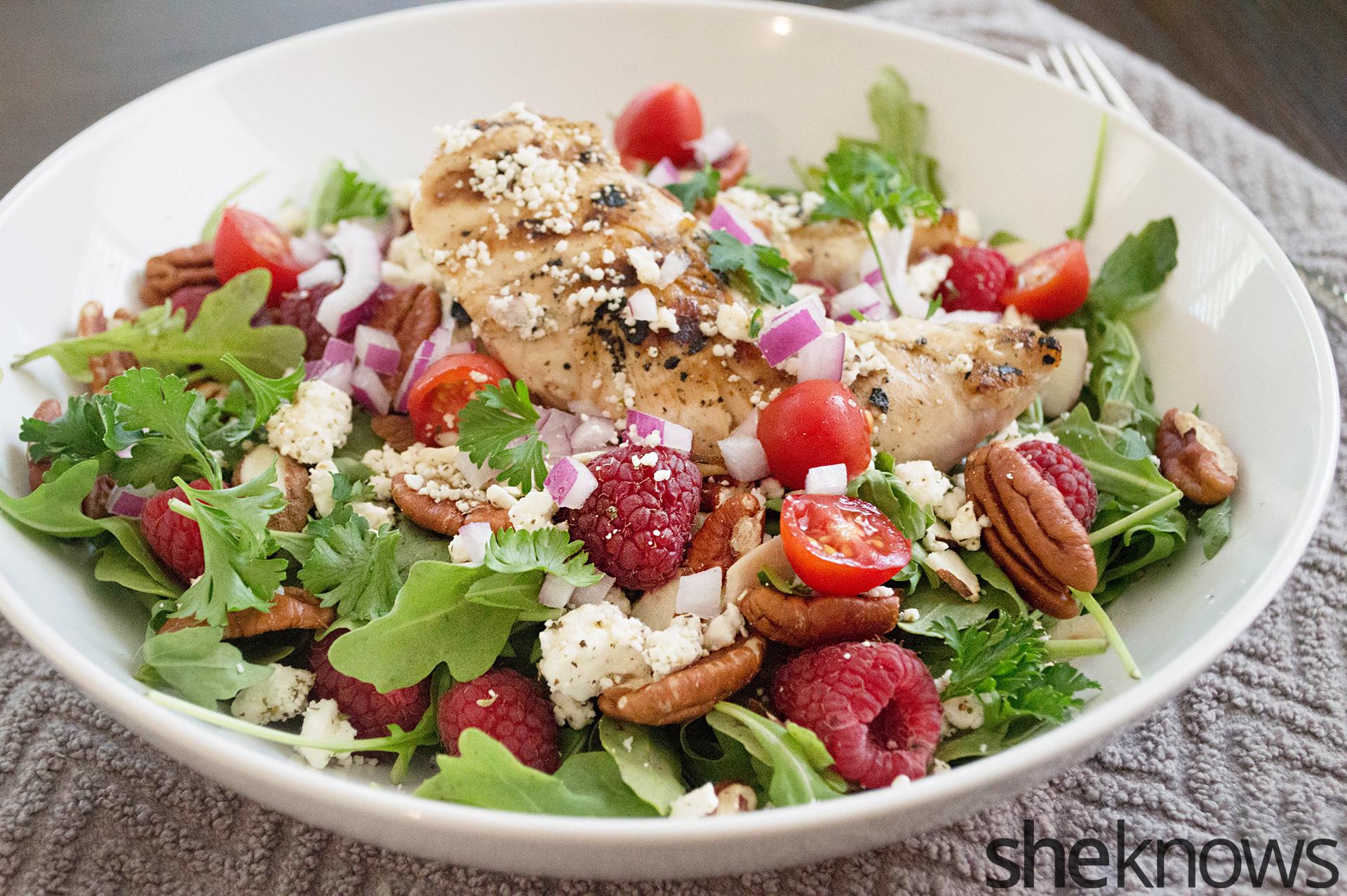 Grilled chicken raspberry pecan salad recipe