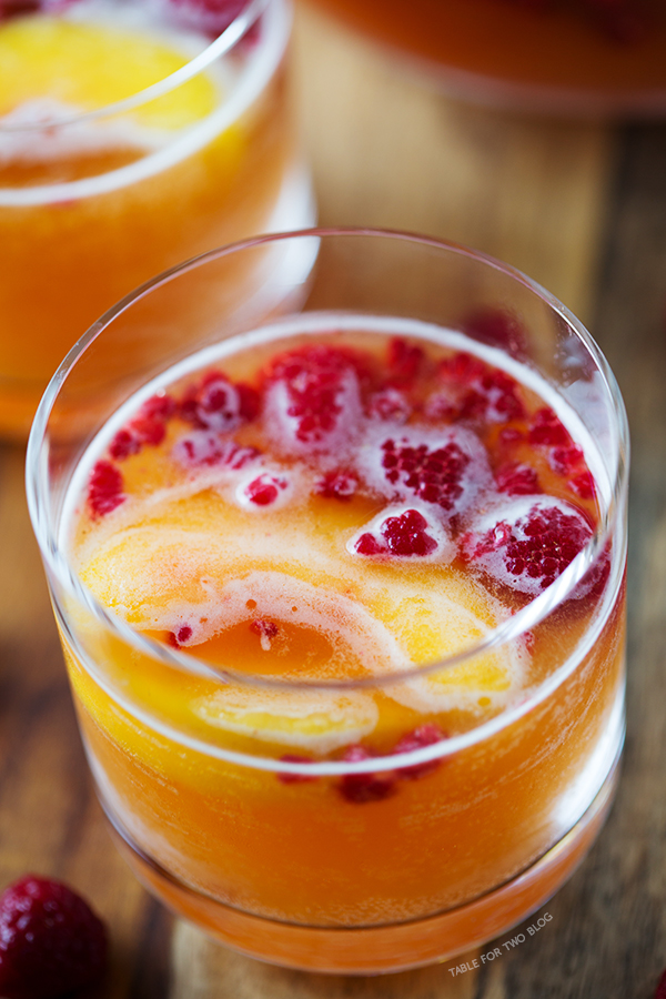 Raspberry peach prosecco cocktail