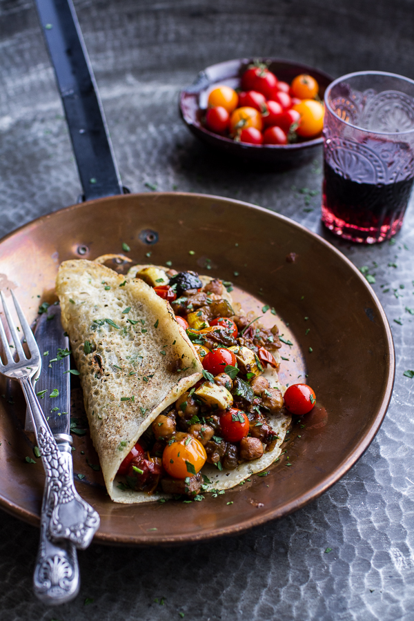 Indian crepes with summer squash and tomato chickpea masala