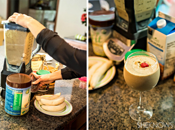 Healthy smoothie: Raw chocolate peanut butter and banana