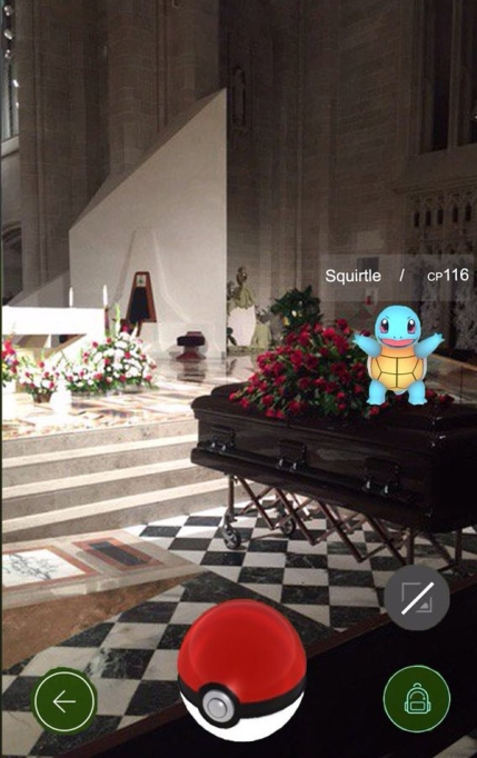 Pokémon at a funeral