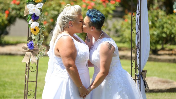 Blonde Bride and Bride With Blue