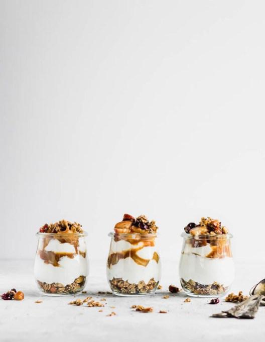 Easy Winter Breakfast Ideas | Maple Pear Parfait with Cardamom Skillet Granola