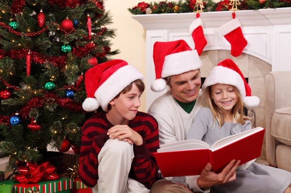 reading to kids on Christmas
