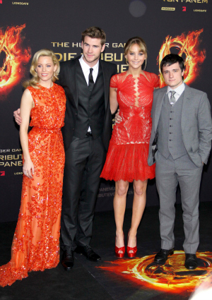 Liam Hemsworth and cast of Hunger Games