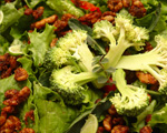 Winter salad with broccoli, walnuts and fruit