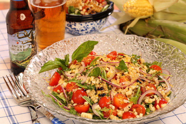 Grilled corn salad with Angry Orchard Apple Ginger dressing
