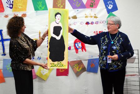 Artist presenting work