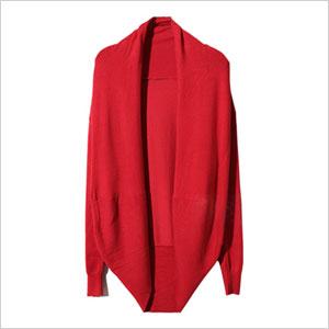 Romwe Asymmetric Neckline Red Cardigan