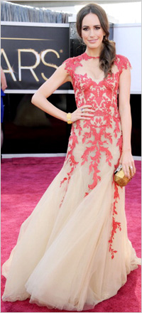 Louise Roe wearing paisley gown