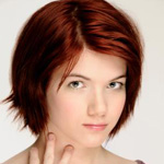 Woman wihth short red hairstyle