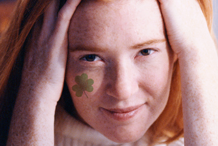 Red head with clover face paint | Sheknows.com