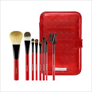 red travel brush set