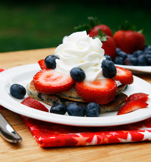 Red, white and blue pancake stacks