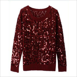 Sheinside Wine Red Long Sleeve Sequined Mohair Sweater