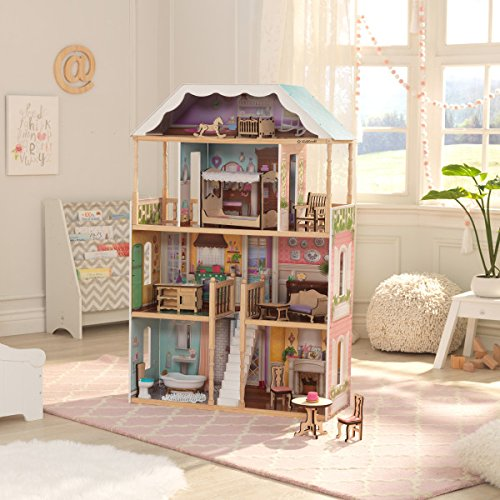 KidKraft Charlotte Dollhouse with EZ Kraft Assembly, Multicolor