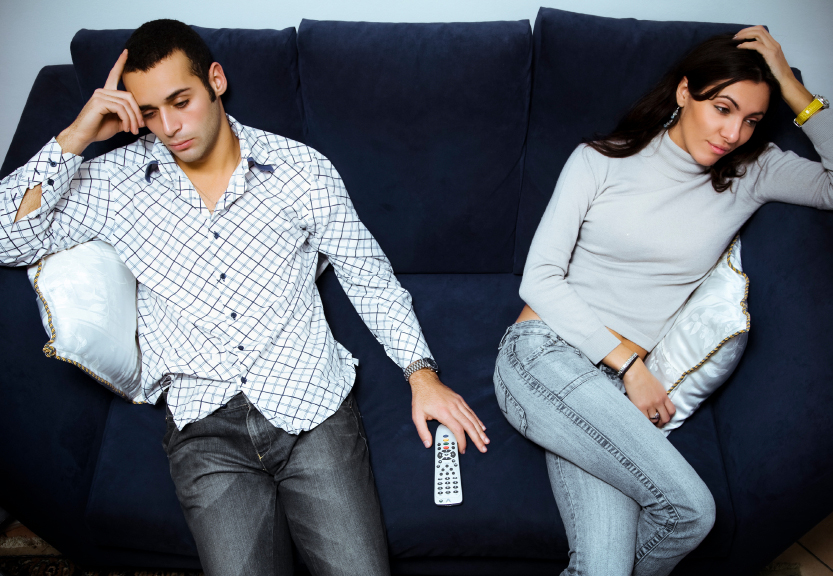 Couple giving the silent treatment