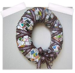 Repurposed paper all season wreath