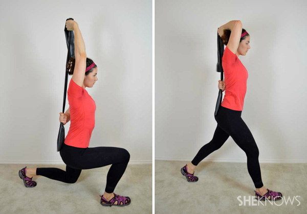 Lunge with overhead triceps extension