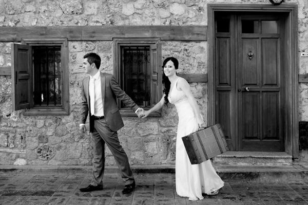 retro style wedding photo