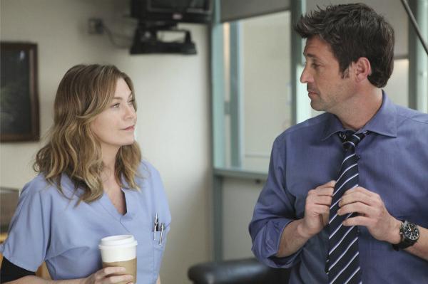 Ellen Pompeo and Patrick Dempsey on Grey's Anatomy
