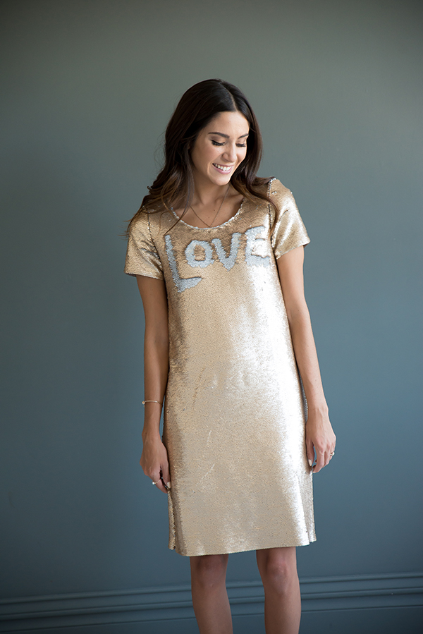 Reversible sequin shift dress