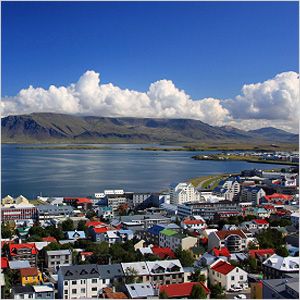 Aerial view of Reykjavic and coast