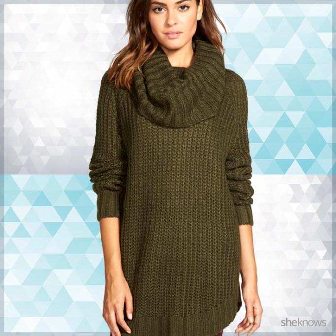 Comfortable green sweater dress