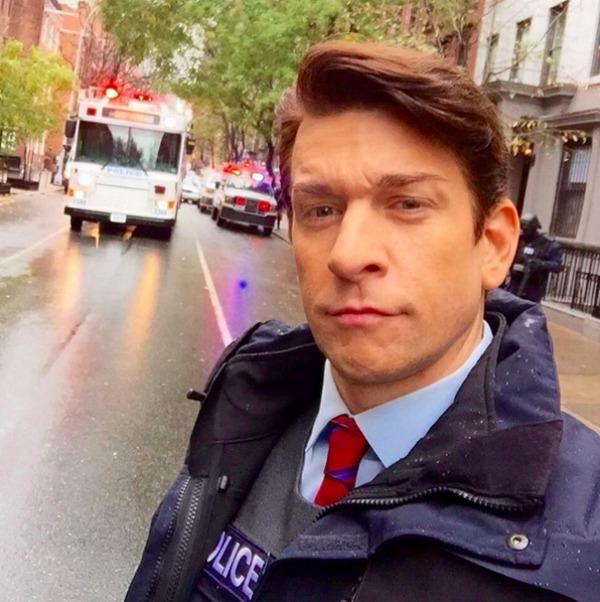 Andy Karl street scene selfie