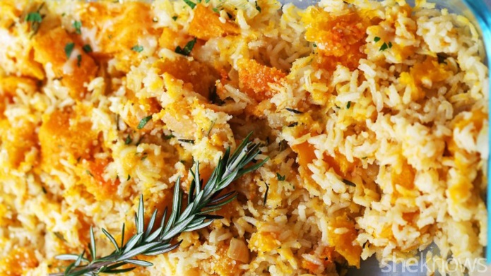 Hearty butternut squash rice casserole is