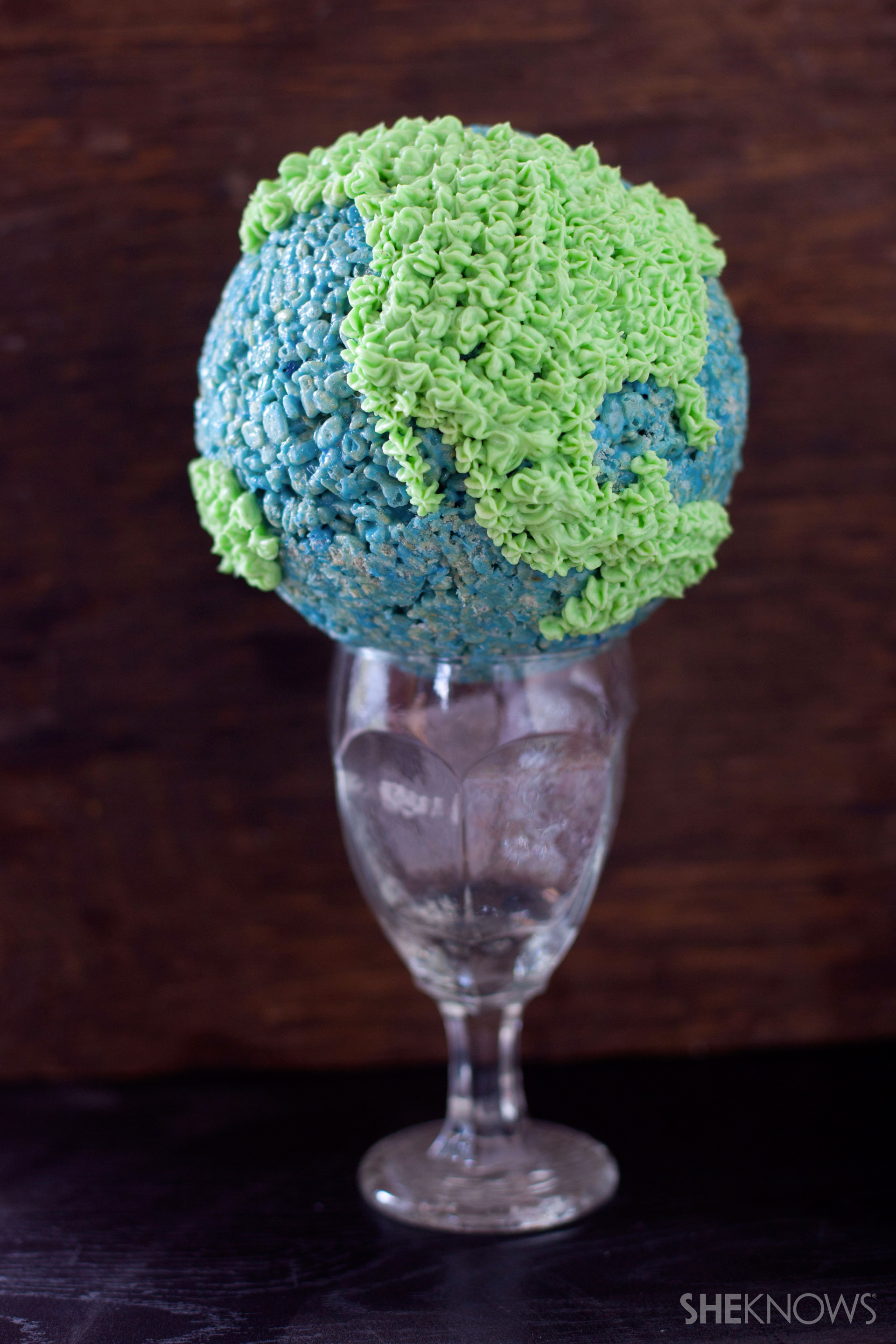 Candy filled Rice Kripies treat globe