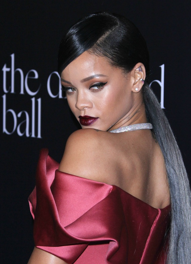 Rihanna with grey ponytail
