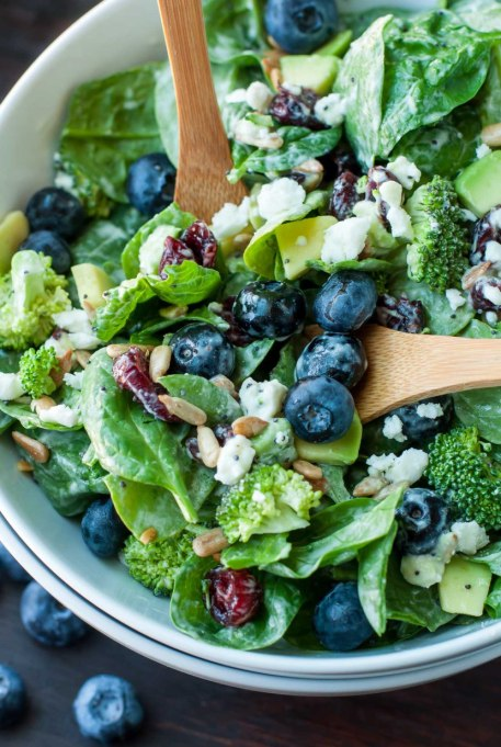 Yummy Winter Salads You'll Actually Crave   Blueberry Broccoli Spinach Salad with Poppyseed Ranch