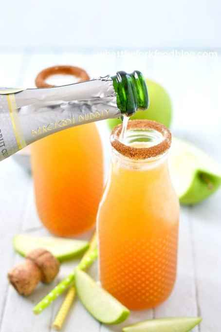 Fall brunch recipes: apple cider mimosas made with champagne and apple cider