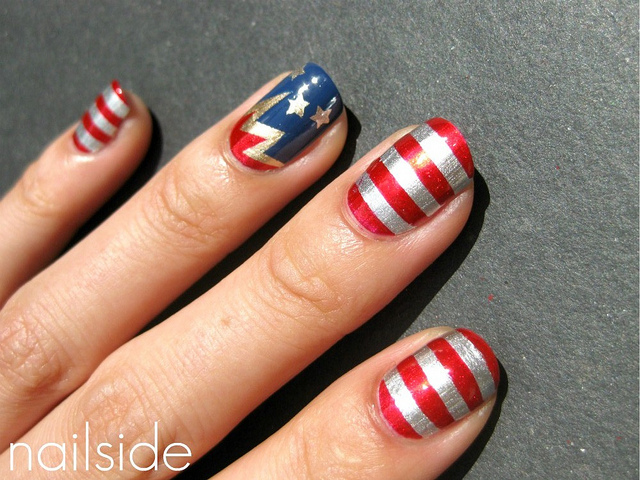 Stars and stipes patriotic nail design
