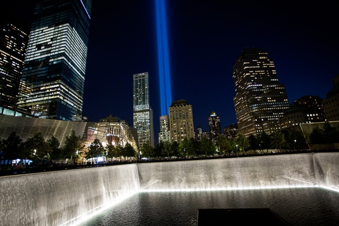 The 'Tribute in Light' is seen over the 9/11 Memorial