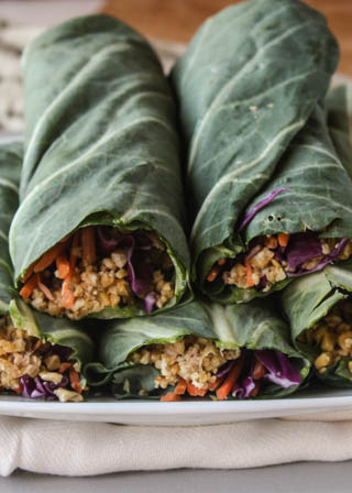 Collard Wraps with Chickpea Walnut Meat
