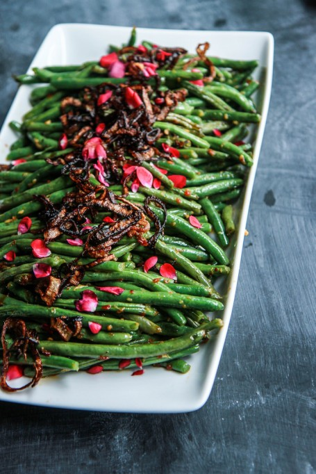 New Ways to Serve Up Green Beans This Thanksgiving: Sichuan green beans with fried shallots