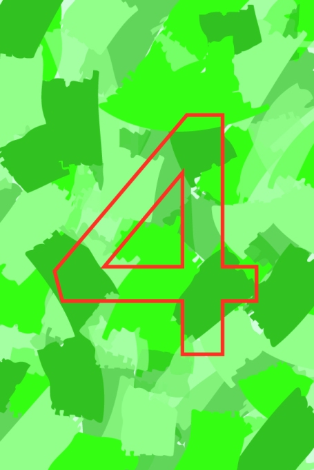 Outline of number 4 on green background