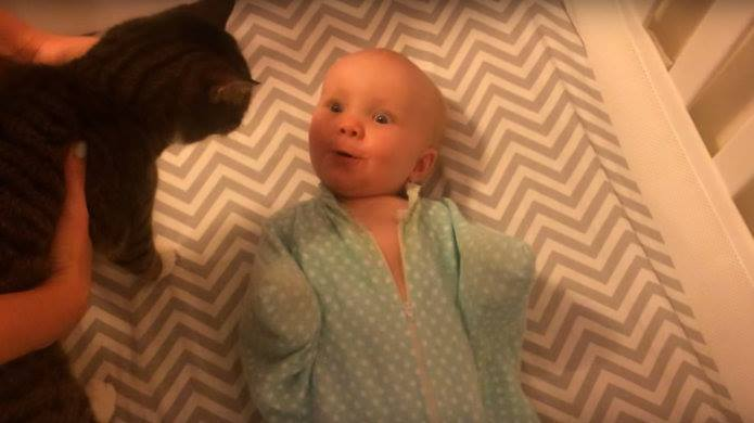 Adorable baby explodes with happiness when