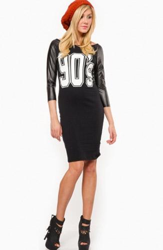 Black leather sleeve dress