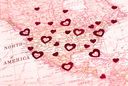 A map of romance in the United States