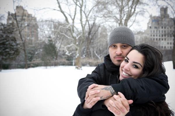 Romantic couple in snow