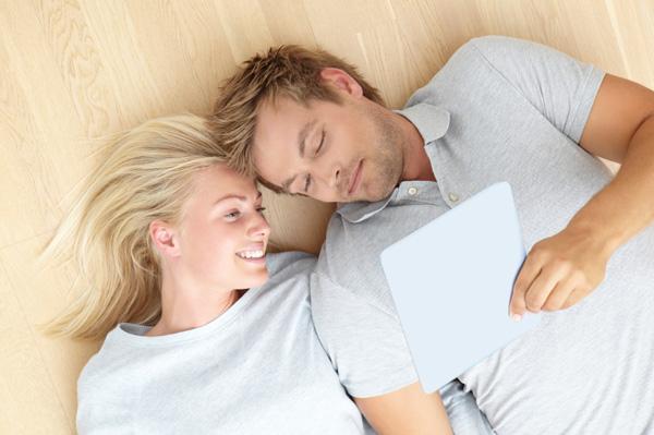 Romantic couple on iPad