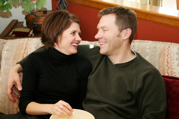 Romantic couple on couch
