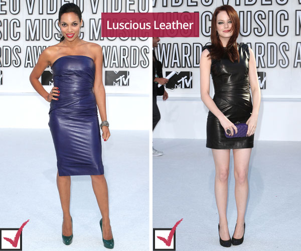 Rosario Dawson and Emma Stone in leather dresses at MTV VMAs
