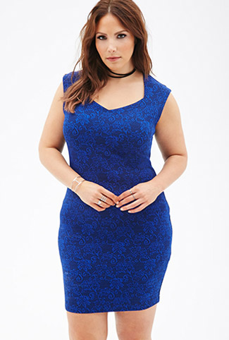 Rose-patterned bodycon dress