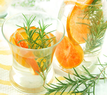 Rosemary and mandarin orange flavored water
