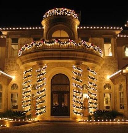 Lights wrapped around columns