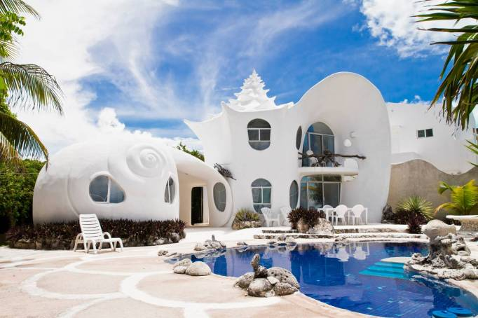 A house designed to look like a seashell